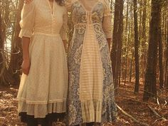 I like the blue one. I wish women still dressed like this. I would love to wear delicate dresses everyday!