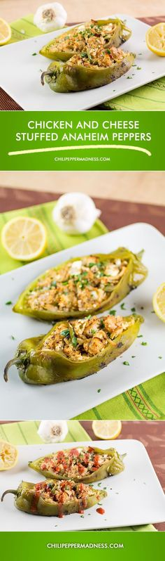Chicken and Cheese Stuffed Anaheim Peppers from ChiliPepperMadness.com