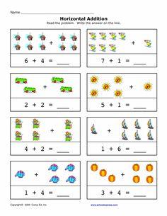 12 best Horizontal Addition images on Pinterest | Kindergarten, Math ...