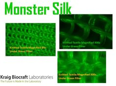 Monster Silk(TM) Knitted Textile Magnified 84x Under Green Filter, Knitted Textile Magnified 300x Under Green Filter, and  Knitted Textile Magnified 300x Under Green Filter.
