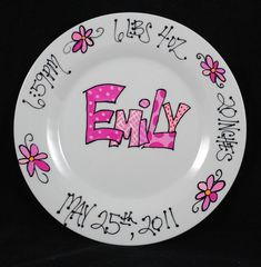 Custom name personalized hand painted ceramic wedding plate or items similar to personalized baby gift birth announcement custom design personalized baby gift nursery decor baby keepsake on etsy negle Gallery