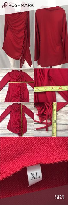 🏝Size XL Red One Button Wrap Sweater w/ Fringe Measurements are in photos. Normal wash wear, no flaws E3/31  ** no brand or material tag it's a Rayon/ Nylon blend.  I do not comment to my buyers after purchases, due to their privacy. If you would like any reassurance after your purchase that I did receive your order, please feel free to comment on the listing and I will promptly respond.   I ship everyday and I always package safely. Thank you for shopping my closet! Context Jackets & Coats…