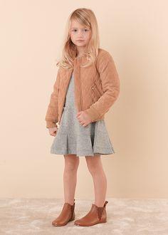 Chloé Girls beige suede bomber jacket available @Childrensalon. #Chloé #Girl #ChloéGIRLS #BomberJacket