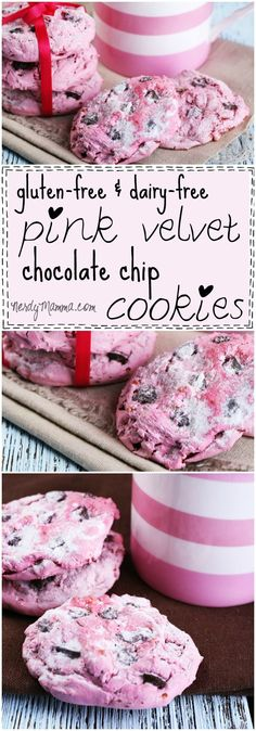 These gluten-free and dairy-free pink velvet chocolate chip cookies are so pretty. And they sound so yummy. I want a batch now.