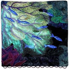 """Night Dive"" by Eileen Williams, 12"" square, 2012 SAQA benefit auction. Discharge dyed, paint stick rubbings, Angelina fibers, recycled onion bag netting, raw edge applique, free motion machine quilting, and scalloped edge hand beadingsaqa. Saqa"