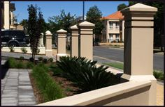 Sandstone Fence Pillars. The Mawson with a pyramid top. Concrete Posts, Concrete Fence, Garden Fences, Garden Landscaping, Pillar Design, Garden Design, House Design, Cap Ideas, Office Spaces
