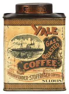 Early tin litho small top coffee can for Yale brand (Steinwender Stoffregen Co. Louis) featuring trademark image of cruiser ship Yale on front and back (Norton Bros.