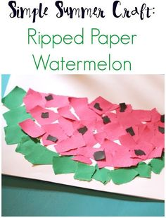 Simple Summer Craft: Ripped Paper Watermelon