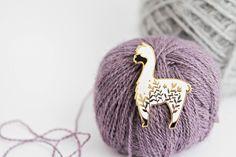 Little Alpaca - Gold Plated Hard Enamel Pin Knitters Flair by TwillandPrint on Etsy