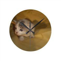 Sweet Kitten Round Wall Clock! #cute #kitten #zazzle #store #cat #meow #customize #gift #present http://www.zazzle.com/conquestkitty*