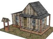 Old Country House for Diorama Free Building Paper Model Download