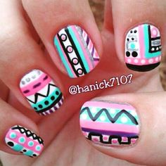 Here are 70 Unique Tribal Nail Designs that you should be copy right now.These nail designs enhance your personality and give you a fabulous look. Tribal Nail Designs, Tribal Nails, Cute Nail Designs, Get Nails, Love Nails, How To Do Nails, Pink Nails, Gorgeous Nails, Pretty Nails