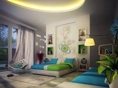 Blue And Green Bedroom Walls Ideas (Blue And Green Bedroom Walls Ideas) design ideas and photos Contemporary Bedroom Decor, Modern Bedroom, Contemporary Style, Green Bedroom Walls, Feature Wall Bedroom, Feature Walls, Green Wall Decor, Kids Room Design, Design Bedroom