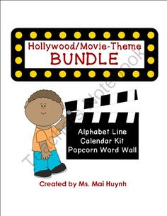 Movie Theme Classroom BUNDLE from Diary of a Grumpy Teacher Shop on TeachersNotebook.com -  (100 pages)  - Do you have a Hollywood/movie theme in your classroom? Decorate your classroom with the Movie Theme Alphabet Line, Classroom Calendar Kit and Popcorn Word Wall.