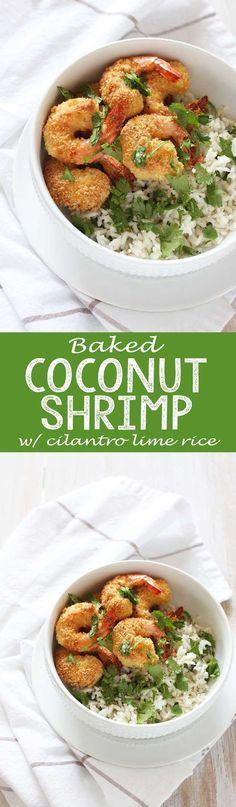 Baked Coconut Shrimp with Cilantro Lime Rice - Eazy Peazy Mealz
