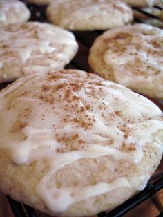 Christmas Eggnog Cookies. These were amazing. (But I do love Eggnog.) They were easy and quick. I refrigerated the leftovers (because of the eggnog in the cookie and icing) and threw them in the oven on like 200 degrees for 10 minutes to warm up when we were ready to eat them again. They softened right up!