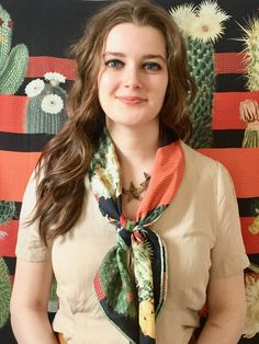 Luxury Silk Square Scarf - Silk Twill - Woven Printed Made in France - Size Mon Grand Silk Neck Scarf, Neck Scarves, Square Scarf, Scarf Styles, Cactus, Poems, Model, Accessories, Outfits