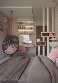 25 Small Teen Bedroom Decor Ideas You Will Love Wonderful Teen Bedrooms Bedroom decor ideas love Small Teen Teen Bedroom Designs, Room Ideas Bedroom, Small Room Bedroom, Home Decor Bedroom, Bedroom Office, Small Apartment Bedrooms, Gray Bedroom, Decor Room, Small Bedroom With Wallpaper