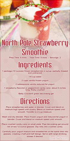 North Pole Strawberry Smoothie Recipe Pictures, Photos, and Images for Facebook, Tumblr, Pinterest, and Twitter
