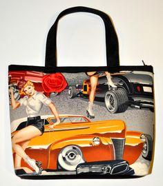 Phil's Drive-In Purse - Vintage hot rods & car hops handbag $17.26 Sabbie's Purses and More