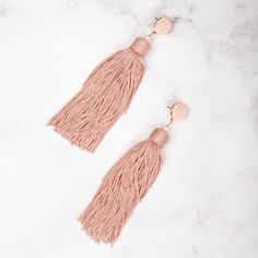An incredible statement piece and a colour for all occasions. These Beaded Statement Tassel earrings, much like the city they are named after, never sleep. Perfect for all occasions, the are the ultimate in statement jewellery. Tassel Earrings, Dusty Pink, Statement Jewelry, Manhattan, Tassels, Jewellery, Color, Style, Swag