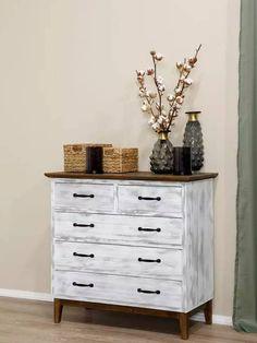 Rustikální komoda se šuplíky v oblíbeném severském stylu Nightstand, Dresser, Table, Furniture, Home Decor, Powder Room, Decoration Home, Room Decor, Night Stand
