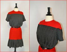 1970s Lillie Rubin Red Black and White by KrisVintageClothing
