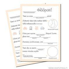 Uutuus Hääputiikissa! Vieraat voivat täytellä näitä viestejä hääparille pitkin iltaa tai vaikkapa odotellessaan hääparia valokuvauksesta. Sopii loistavasti myös hiukan erilaiseksi vieraskirjaksi. Viestit jäävät häiden jälkeen mukavaksi muistoksi hääparille.  Laadukasta, A5-kokoista kiiltävää paperia. Omaa suomalaista Ribbon & Ink -mallistoamme. 10 kpl/pkt. Jos varastossa ei ole jäljellä tarvitsemaasi määrää paketteja, ota yhteyttä niin tilaamme niitä lisää.  Saat paljousalennuksen, j...