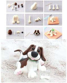 Diy Dog Cake Clay Tutorials 49 New Ideas Polymer Clay Figures, Polymer Clay Animals, Fondant Figures, Polymer Clay Projects, Fondant Dog, Fondant Animals, Fondant Cake Toppers, Fondant Decorations, Parties Decorations
