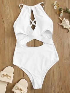 Criss Cross Halter One Piece Swimsuit Teen Fashion Outfits, Outfits For Teens, Girl Fashion, Cute One Piece Swimsuits, Halter One Piece Swimsuit, Criss Cross, Bikinis, Swimwear, Underwear