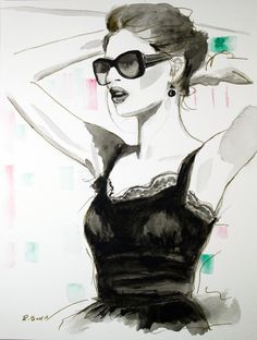 Fashion Watercolor Painting Posed Woman in the by rballcreative, $55.00