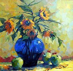 Girasoles en florero azul de Trisha Adams del ~ 30 x 30