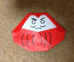 """だるま 折り紙 折リ方 作り方 正月飾り how to make a daruma doll """"origami"""""""