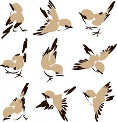Might be a nice starting point for the sparrow. Graphic yet painterly and very adaptable in illustrator :)