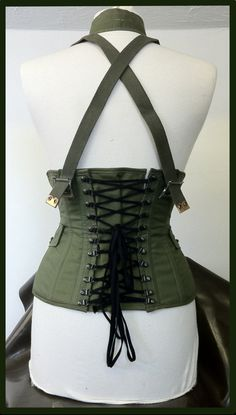 Steel boned military under bust buckle corset by KirsteenWythe