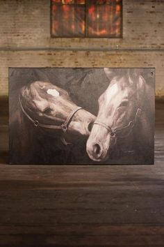 Oil Painting - Black & White Kissing Horses – Hearts Attic