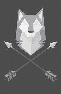 Geometric wolf with arrows