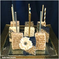 Sophisticated navy and gold chocolate dipped Rice Krispies treats!