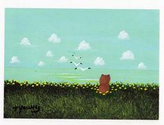 Pomeranian Dog Folk Art PRINT Todd Young painting by ToddYoungArt, $13.50
