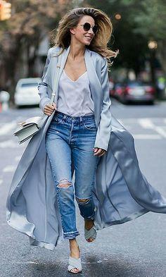 Blue 2017 Total Look + lace top and pijama coat