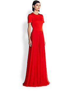 Alexander McQueen Crepe Combo Gown pretty dress if it came in a different color!