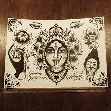 This looks like it'll match my rah.I dont know to whom this tattoo flash it belongs to, but I love it! Kali Tattoo, Ganesh Tattoo, Tattoo You, God Tattoos, Tatoos, Chakra Tattoo, Divine Mother, Flash Art, Tattoo Flash
