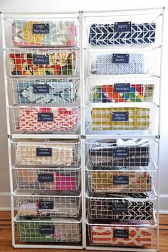 Fabric Storage With Wire Bin Racks.