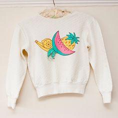Vintage Girls Fruity Applique Sweater