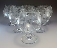 Sasaki-Bamboo-Brandy-Glass-Goblet-Etched-Bar-Glasses-6-Mid-Century