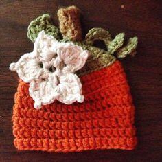 Little Pumpkin Handmade Crocheted Baby Girl Hat by ASimpleCraft