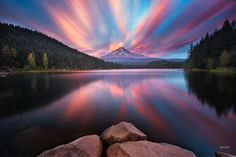 Mt Hood sunset from Trillium Lake - Long exposure view of sunset over Mt Hood from Trillium Lake. 3 1/2 minute exposure.