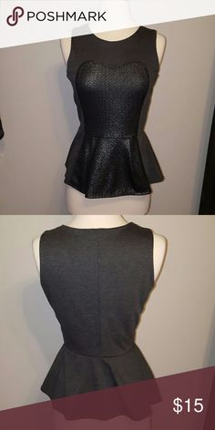 Adorable peplum shirt Grey with front detailing green envelope Los Angeles  Tops