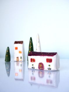 Unique Christmas home decor hause, Miniature handmade pottery sculpture in purlple and gold, Vitez Art