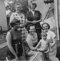 Bottom Row, L to R: Shirley Blake Rhodes, Berneice Bruner Pazics, Linda Pazics Kleback, Patricia Bruner Davis. Top Row, L to R: Gertrude Blake Bruner, Mary Ruth Newell Blake